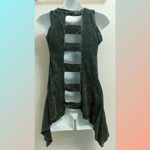 Boho Chic Gray Tunic Tank Top XS Ladder Back